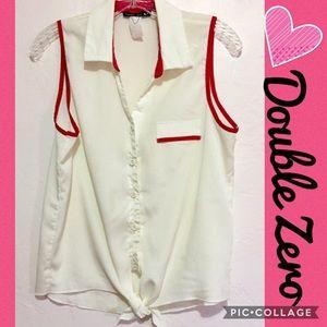 2for$15 DoubleZero Sleeveless Pink&White Button-Up